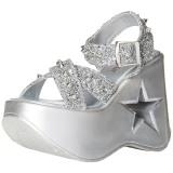 Zilver 13 cm Demonia DYNAMITE-02 lolita sandalen wedge sandalen sleehak