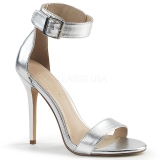 Zilver 13 cm Pleaser AMUSE-10 sandalen met naaldhak
