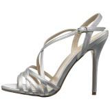 Zilver 13 cm Pleaser AMUSE-13 sandalen met naaldhak
