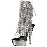 Zilver 15,5 cm DELIGHT-1017RSF dames enkellaarsjes met franjes