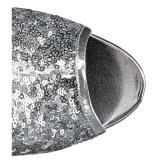 Zilver 15 cm DELIGHT-1008SQ dames enkellaarsjes met pailletten