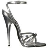 Zilver 15 cm DOMINA-108 fetish schoenen met naaldhak