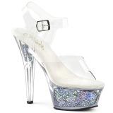 Zilver 15 cm KISS-208GF glitter plateau sandalen met hak