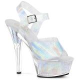Zilver 15 cm KISS-208N-CRHM Hologram plateau schoenen dames met hak