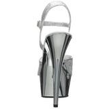 Zilver 15 cm Pleaser DELIGHT-609G Chroom Plateau Hoge Hakken