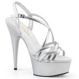 Zilver 15 cm Pleaser DELIGHT-613 Sandalen met hoge hakken