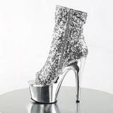 Zilver 18 cm ADORE-1008SQ dames enkellaarsjes met pailletten