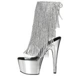 Zilver 18 cm ADORE-1017RSF dames enkellaarsjes met franjes
