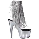 Zilver 18 cm ADORE-1017RSFT dames enkellaarsjes met franjes
