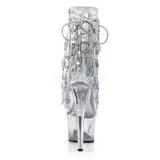 Zilver 18 cm ADORE-1017SQF pailletten enkellaarsjes met franjes