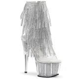 Zilver 18 cm ADORE-1017SRS dames enkellaarsjes met franjes