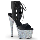 Zilver 18 cm ADORE-700-14LG glitter plateau schoenen met hakken