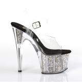 Zilver 18 cm ADORE-708CG glitter plateau schoenen dames met hak