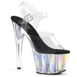 Zilver 18 cm ADORE-708HGI Hologram plateau schoenen dames met hak