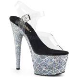 Zilver 18 cm ADORE-708MSLG glitter plateau sandalen met hak