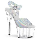 Zilver 18 cm ADORE-708N-MS glitter plateau schoenen met hakken