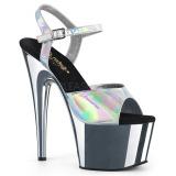 Zilver 18 cm ADORE-709HGCH Hologram hoge hakken schoenen pleaser