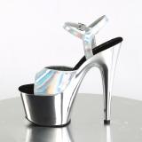 Zilver 18 cm ADORE-709HGCH Hologram plateau schoenen dames met hak