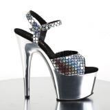 Zilver 18 cm ADORE-709MSC Hologram plateau schoenen dames met hak