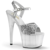 Zilver 18 cm ADORE-710GT glitter plateau schoenen dames met hak