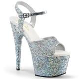 Zilver 18 cm ADORE-710LG glitter hoge hakken schoenen pleaser