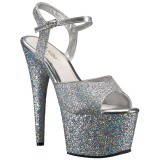 Zilver 18 cm ADORE-710LG glitter plateau hoge hakken