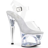 Zilver 18 cm MOON-708GFT glitter plateau sandalen met hak