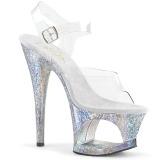 Zilver 18 cm MOON-708HB Hologram plateau schoenen dames met hak