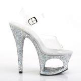 Zilver 18 cm MOON-708LG glitter plateau schoenen dames met hak