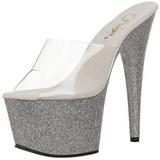 Zilver 18 cm Pleaser ADORE-701SDG Glitter Plateau Hoge Mules