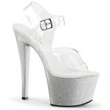 Zilver 18 cm Pleaser SKY-308MG glitter schoenen met hakken