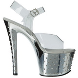 Zilver 18 cm Pleaser STARDUST-708 High Heels Chroom Plateau