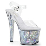Zilver 18 cm RADIANT-708BHG Hologram plateau schoenen dames met hak