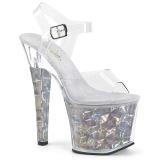 Zilver 18 cm RADIANT-708HHG Hologram hoge hakken schoenen pleaser