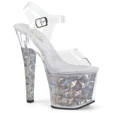 Zilver 18 cm RADIANT-708HHG Hologram plateau schoenen dames met hak