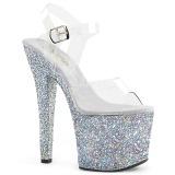 Zilver 18 cm RADIANT-708LG glitter schoenen met hakken