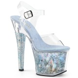 Zilver 18 cm RADIANT-708THG Hologram plateau schoenen dames met hak