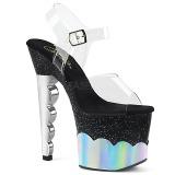Zilver 18 cm SCALLOP-708-2HGM Hologram plateau schoenen dames met hak