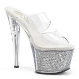 Zilver 18 cm SKY-302SRS Strass steentjes plateau slippers dames