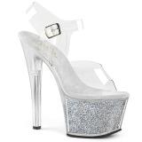 Zilver 18 cm SKY-308G-T glitter plateau sandalen met hak