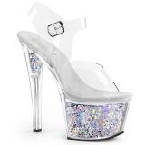 Zilver 18 cm SKY-308GF glitter plateau sandalen met hak