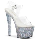 Zilver 18 cm SKY-308LG glitter plateau schoenen dames met hak