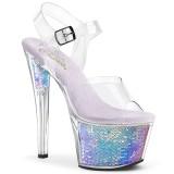Zilver 18 cm SKY-308MC Hologram plateau schoenen dames met hak