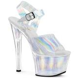 Zilver 18 cm SKY-308N-CRHM Hologram plateau schoenen dames met hak