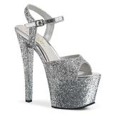 Zilver 18 cm SKY-310LG glitter plateau schoenen dames met hak