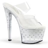 Zilver 18 cm STARDUST-702T Strass steentjes plateau slippers dames