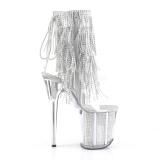 Zilver 20 cm FLAMINGO-1017SRS dames enkellaarsjes met franjes
