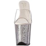 Zilver 20 cm FLAMINGO-801G glitter plateau slippers dames met hak