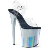 Zilver 20 cm FLAMINGO-808-2HGM glitter plateau sandalen met hak