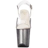Zilver 20 cm FLAMINGO-808G Glitter Plateau Hoge Hakken